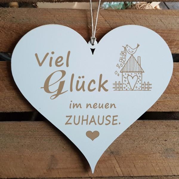 Herz Schild « VIEL GLÜCK IM NEUEN ZUHAUSE » Geschenk zum Einzug
