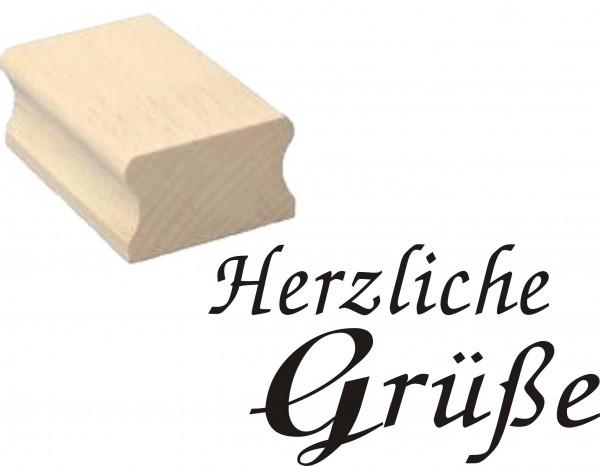 Stempel « HERZLICHE GRÜßE » Holzstempel 50 x 30 mm