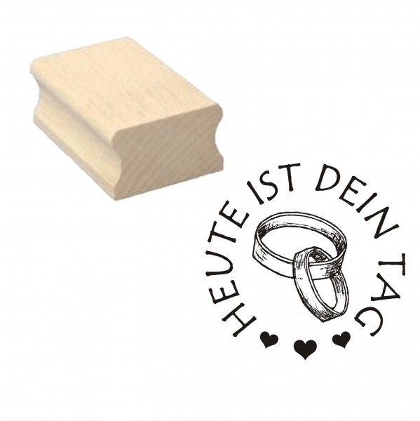 Stempel « Heute ist dein Tag » Herzen Ringe Motivstempel - 40 x 40 mm