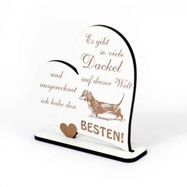 Dekoaufsteller Herz Bester Dackel der Welt - Schild Teckel Dachshund