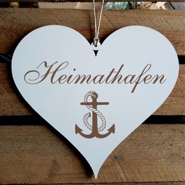 Shabby Herz Schild « HEIMATHAFEN » mit Motiv Anker
