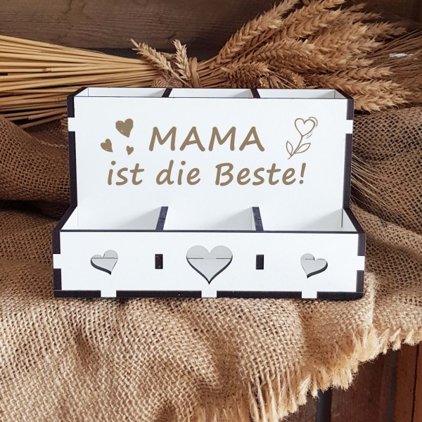 Dekorative Stiftebox « MAMA IST DIE BESTE » mit 6 Fächern - Motiv Herzen