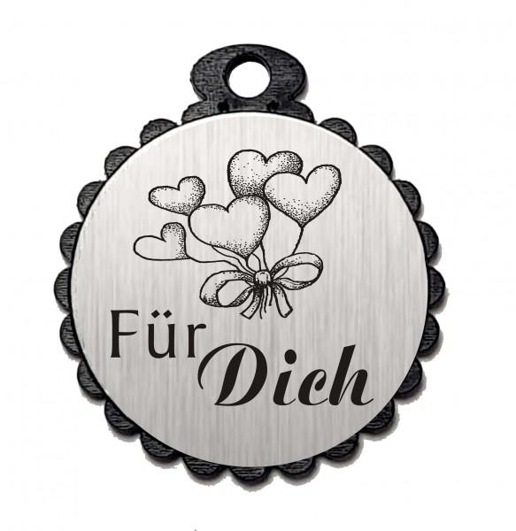 Runder Anhänger « FÜR DICH » mit Motiv HERZEN - Aluminium Look - silber