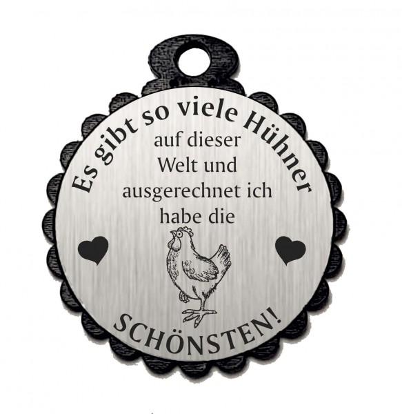 Runder Anhänger « DIE SCHÖNSTEN HÜHNER 05 » mit Motiv HUHN - Aluminium Look - silber