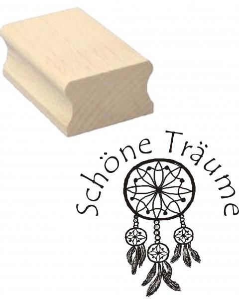 Stempel Traumfänger « SCHÖNE TRÄUME » Motivstempel 30 x 30 mm
