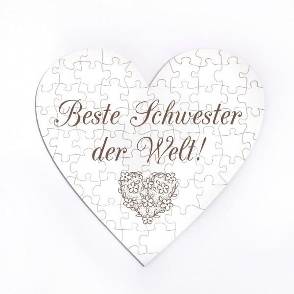 Herz Puzzle Beste Schwester der Welt - 70 Teile