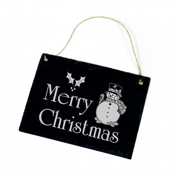Schiefertafel Merry Christmas - Schneemann Schild 22 x 16 cm