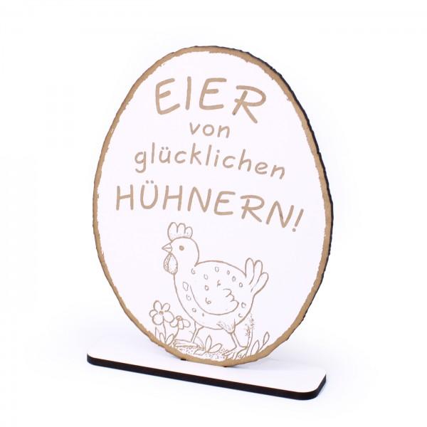 Deko Aufsteller Eier von glücklichen Hühnern • Schild zum Hinstellen • 20 x 15 cm