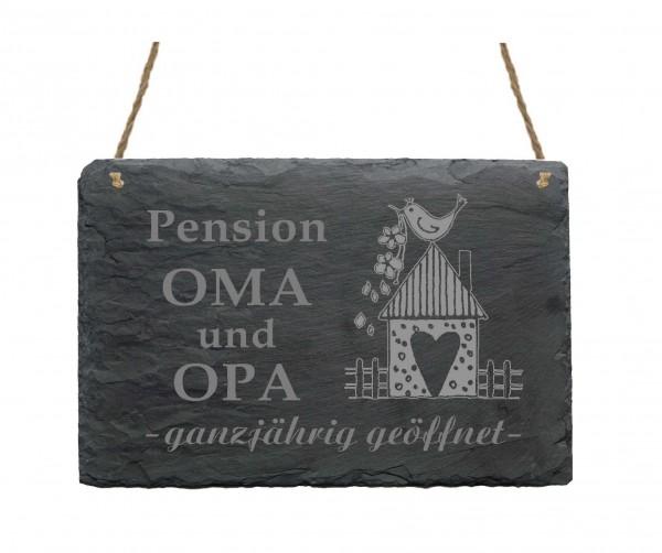 Schiefertafel « Pension Oma und Opa »
