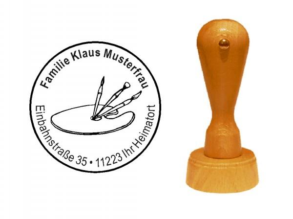 « Malpalette » Holzstempel mit persönlichem Wunschtext