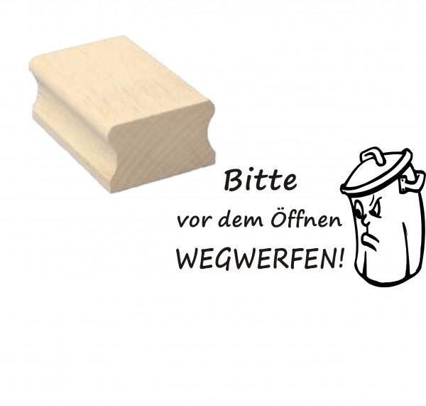 Stempel « Bitte vor dem Öffnen wegwerfen » Mülltonne - Motivstempel 50 x 30 mm