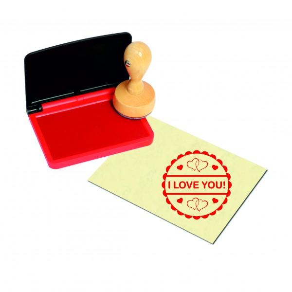 Stempel I love you - Herzen - inkl. Stempelkissen rot