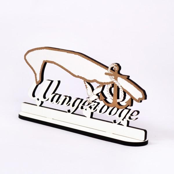 Schild « Insel Wangerooge » zum Hinstellen - mit Anker Möwe Herzen