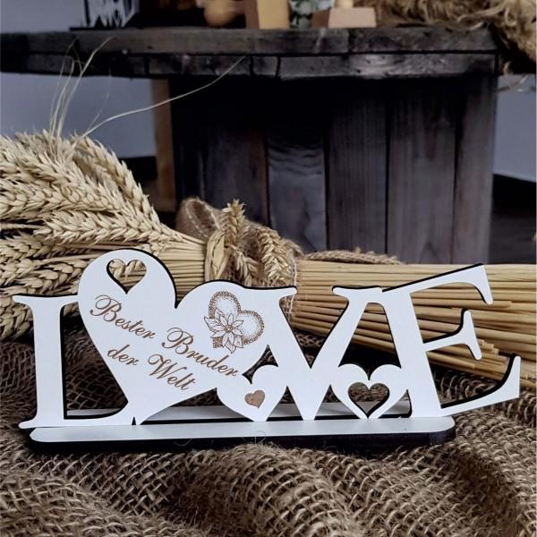 LOVE Deko Aufsteller « BESTER BRUDER DER WELT » mit Herzen