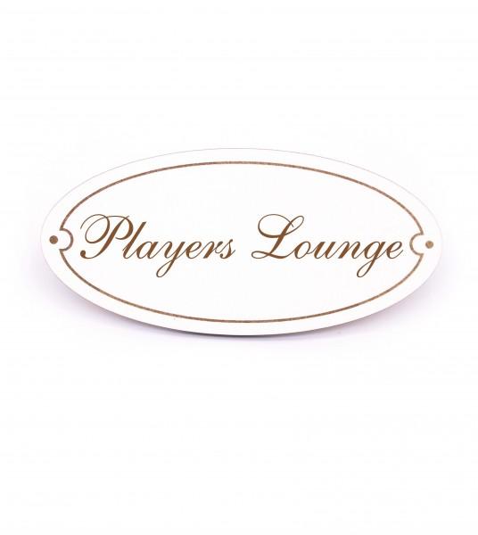 Ovales Türschild Players Lounge - selbstklebend - 15 x 7 cm