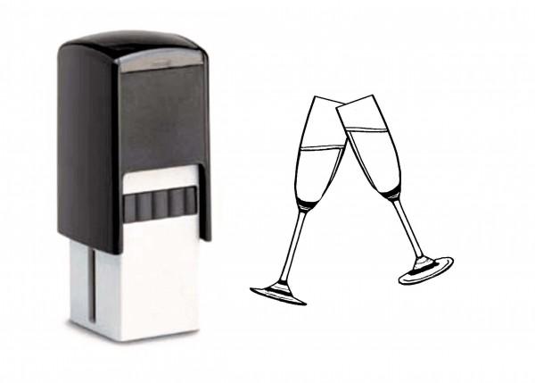 Bonuskartenstempel Sekt Gläser - 10 x 10 mm