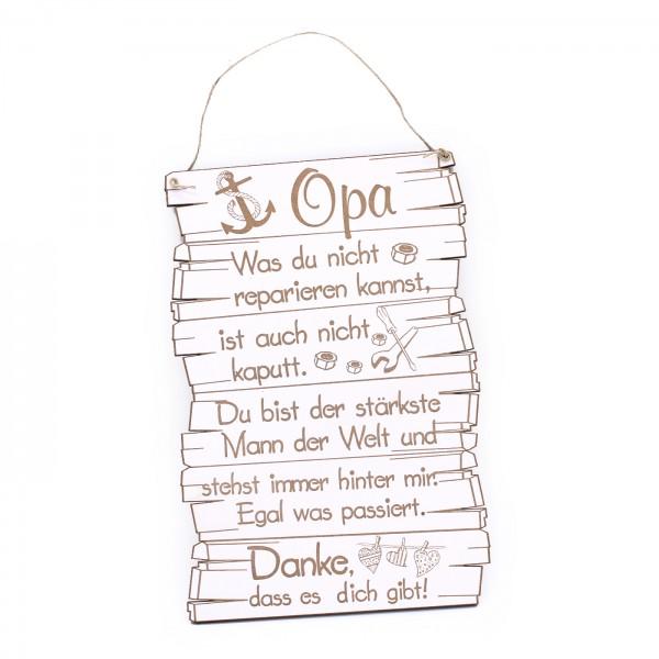 Schild Opa, danke, dass es dich gibt - Anker Werkzeug Herzen Motiv