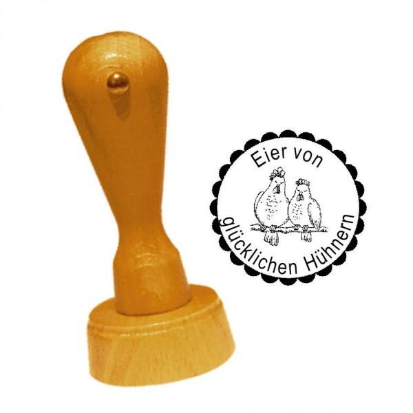Stempel « EIER VON GLÜCKLICHEN HÜHNERN 04 » Hühnerpaar • inkl. Personalisierung Ø 20 mm