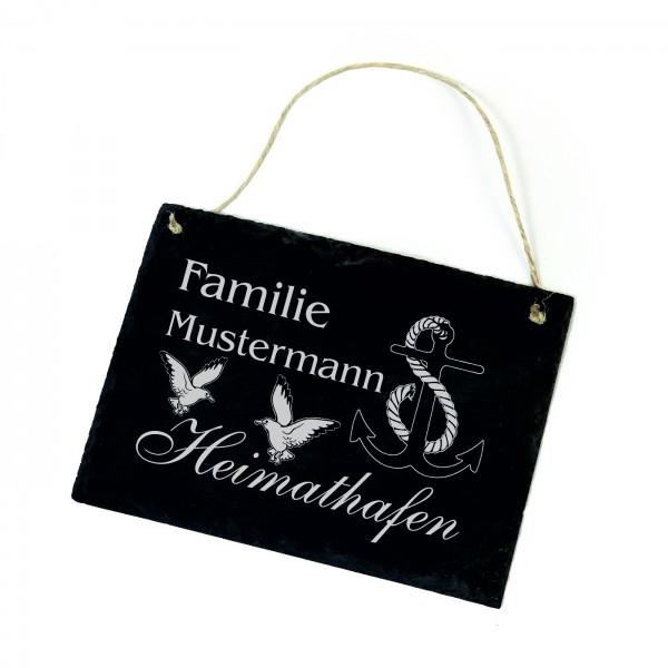 Schild Heimathafen Familie + Name • Türschild Anker Möwen 22 x 16 cm