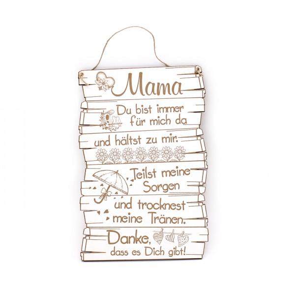 Schild Mama, du bist immer für mich da - Herzen Blumen Regenschirm Motiv