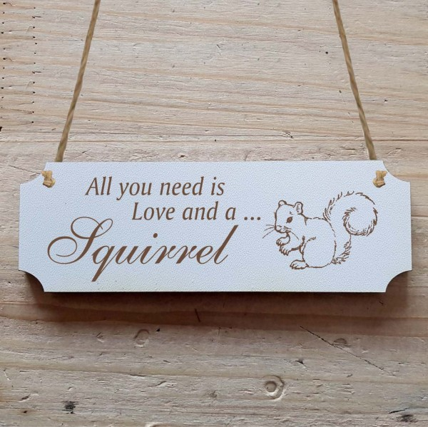Dekoschild « All you need is Love and a Squirrel » Eichhörnchen 1