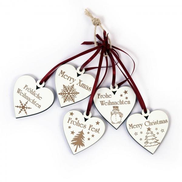 Weihnachtliche Herzen zum Anhängen - 5 Stück - Set 2