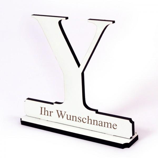 Buchstabe Y mit Name Wunschgravur - Schild zum Hinstellen