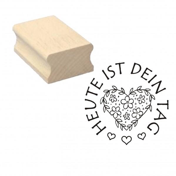 Stempel « Heute ist dein Tag » Herz Motivstempel - 40 x 40 mm