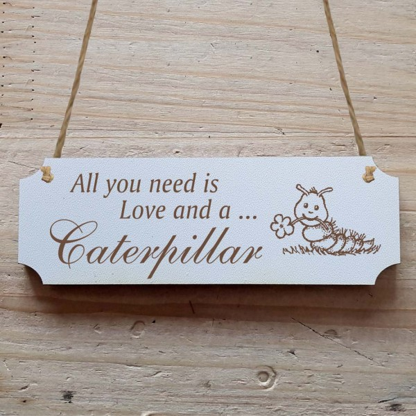 Dekoschild « All you need is Love and a Caterpillar » Raupe