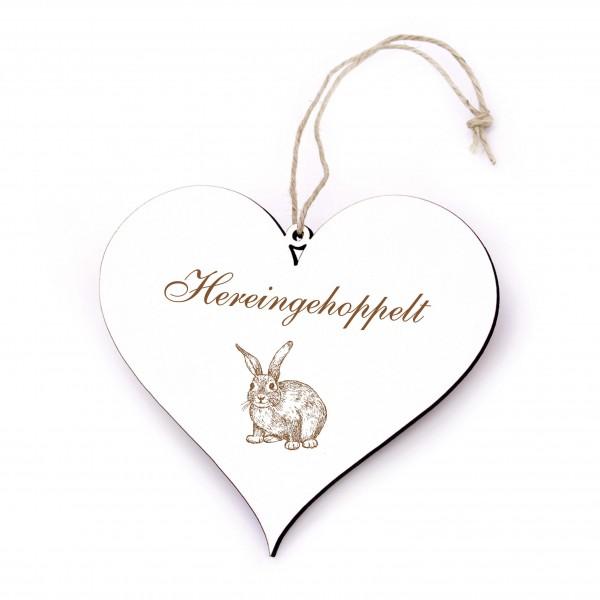 Herz Schild Hereingehoppelt - niedliches Kaninchen Türschild 13 x 12 cm