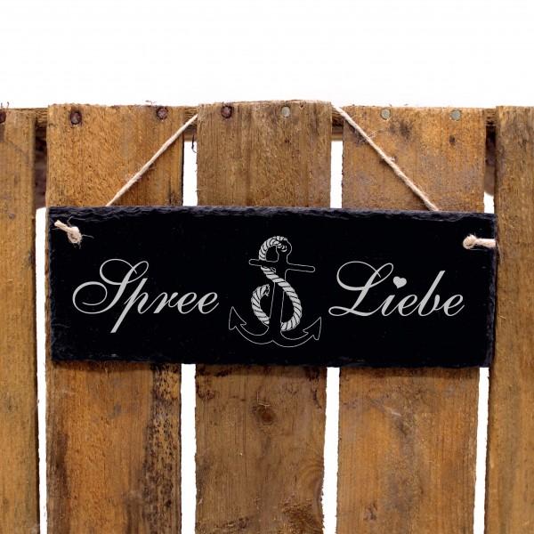 Schiefertafel Spree Liebe - Anker - Deko Schild 22 x 8 cm