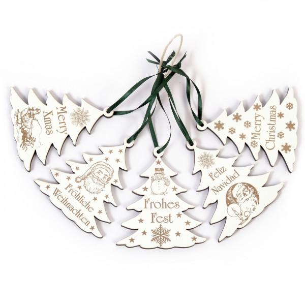 Weihnachtliche Tannenbäume zum Anhängen - 5 Stück - Set 2