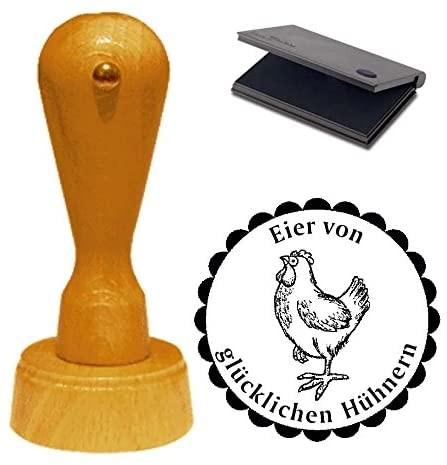 Stempel Eier von glücklichen Hühnern mit Motiv stolzes Huhn Ø 40 mm - inkl. Kissen