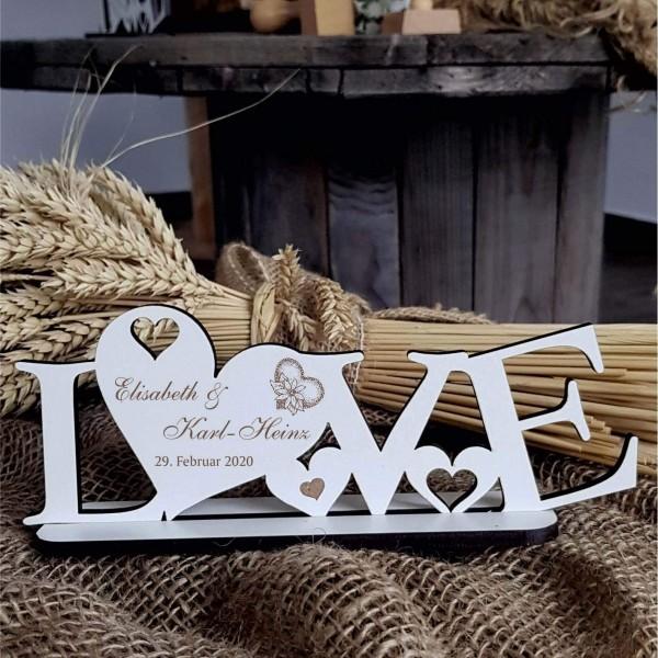 Love Deko Aufsteller mit Personalisierung - Hochzeit Name Datum