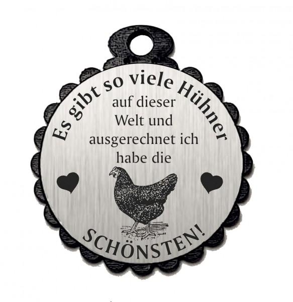 Runder Anhänger « DIE SCHÖNSTEN HÜHNER 01 » mit Motiv HUHN - Aluminium Look - silber