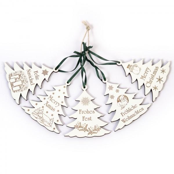 Weihnachtliche Tannenbäume zum Anhängen - 5 Stück - Set 1