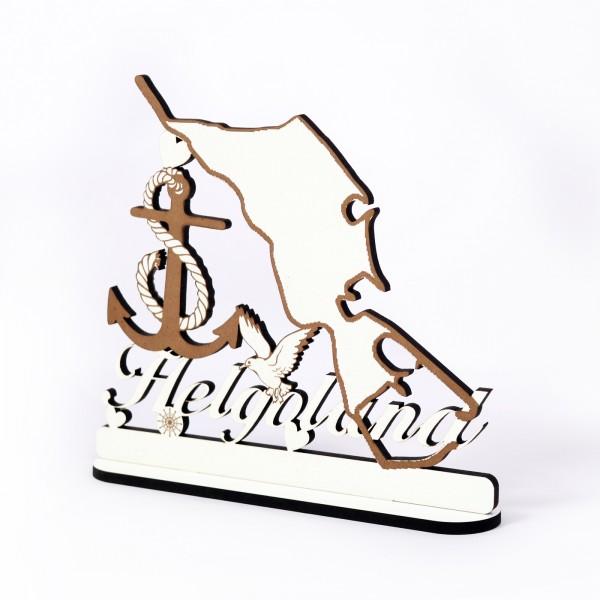 Schild « Insel Helgoland » zum Hinstellen - mit Anker Möwe Herzen