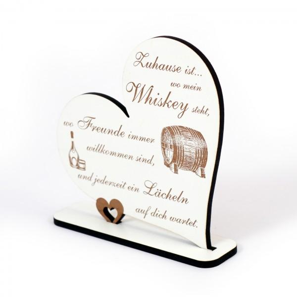 Dekoaufsteller Herz Zuhause ist wo mein Whiskey steht - Schild