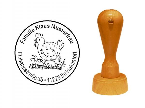 « Vintage Huhn » Holzstempel mit persönlichem Wunschtext