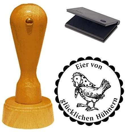 Stempel Eier von glücklichen Hühnern mit Motiv Huhn mit Kopftuch Ø 40 mm - inkl. Kissen