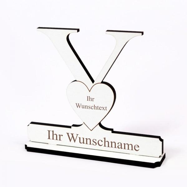 Buchstabe Y mit Herz - Name und Wunschgravur - Schild zum Hinstellen
