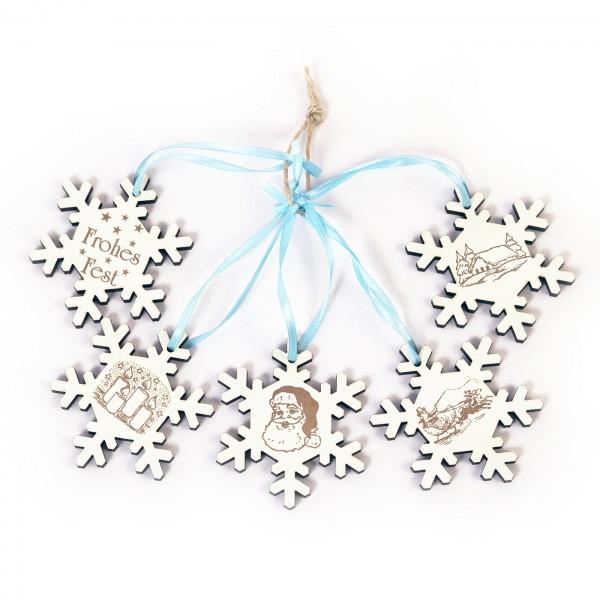 Weihnachtliche Schneeflocken zum Anhängen - 5 Stück - Set 1