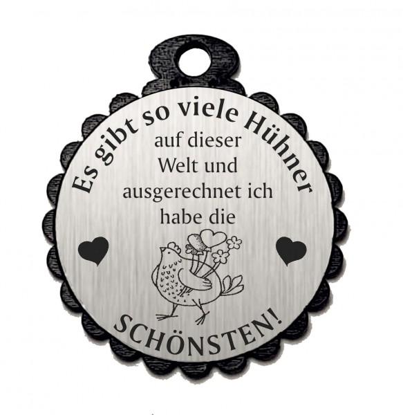 Runder Anhänger « DIE SCHÖNSTEN HÜHNER 03 » mit Motiv HUHN - Aluminium Look - silber