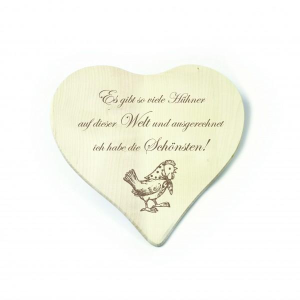 Herz Frühstücksbrettchen Die schönsten Hühner der Welt - Henne mit Kopftuch 23 x 23 cm