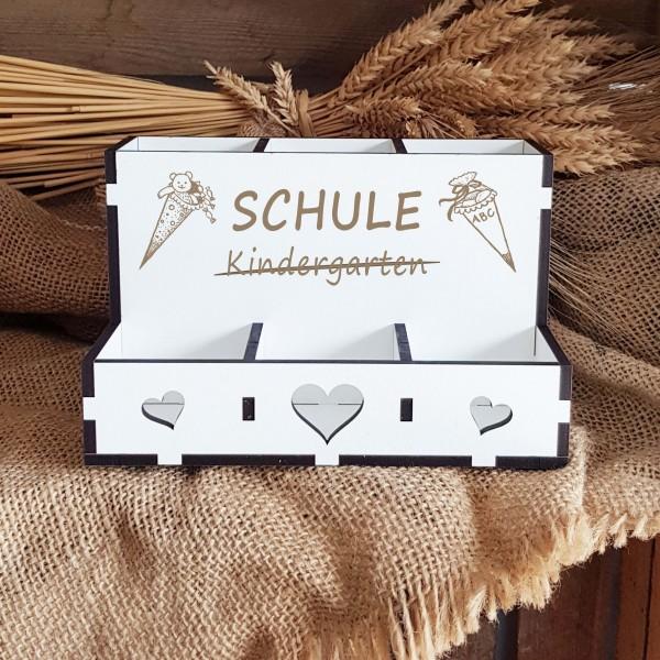Dekorative Stiftebox « SCHULE / KINDERGARTEN » mit 6 Fächern - Motiv Zuckertüte