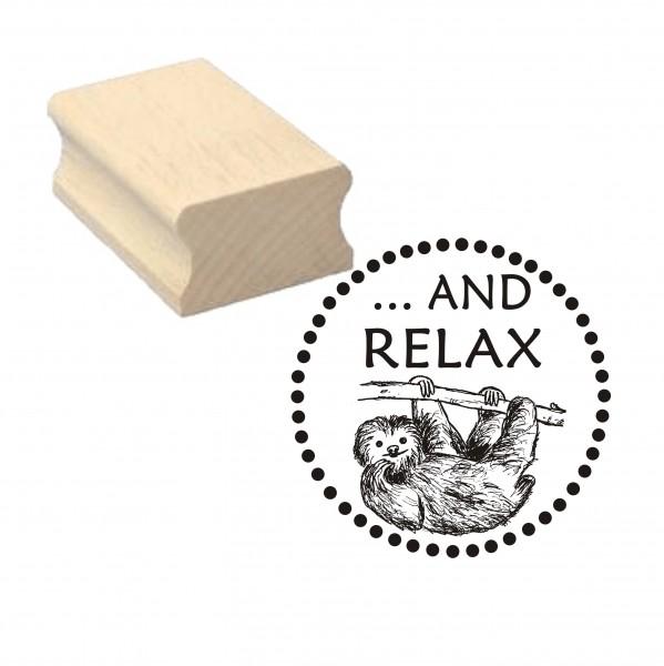Stempel « And Relax » Faultier Motivstempel - 40 x 40 mm